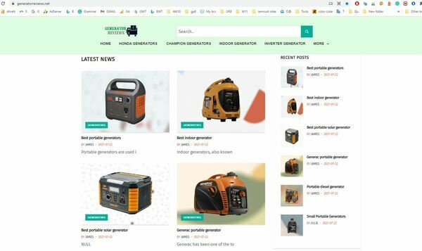 generatorreviews.net - Amazon affiliate Site based on Generator Review