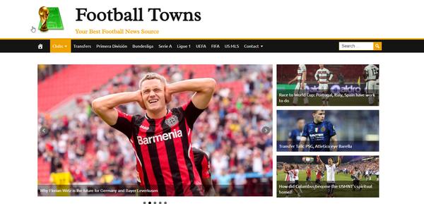 FootballTowns.com - 100% Automated, Premium Design, Hot Niche FOOTBALL News Site, Amazon, CB Ad Income