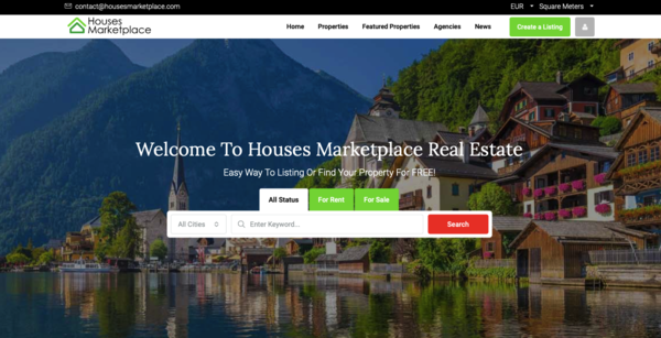 housesmarketplace.com - This is a great opportunity for an online business. Online Real Estate Marketplace for everyone with different monthly subscriptions: free or paid listings
