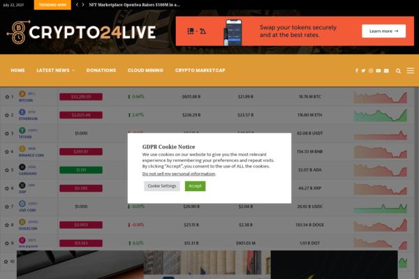 crypto24live.com - Crypto24Live.com - Fully Autopilot Crypto News & Marketcap Site (Earn $5K/Mo)
