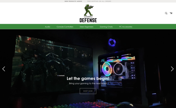 GamingDefense.com - Dropshipping Gaming Store| Computer Chairs, Organisers, Controllers..etc|Ship Worldwide |New User Friendly| Automated Fulfilment |Premium Domain worth  $1,463