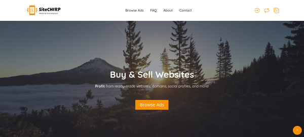 SiteCHIRP - Domain & Website Marketplace Like Flippa - Hold Auctions & Sales of Sites, Apps, Social Profiles - Unique niche in website marketplace like flippa already getting organic traffic and easy to use, easier to monetize, percentage, pay per listing,