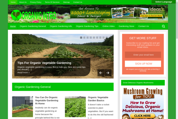 OrganicIntro.com - Organic Gardening Blog-Lucrative Niche-Pro Design-$1.5KBINBonus-NEWBIE Friendly