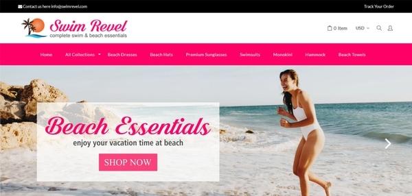 SwimRevel.com - PASSWORD: flippa, Swimwear/Beach Essential Dropshipping Store,with SUPPLIERS