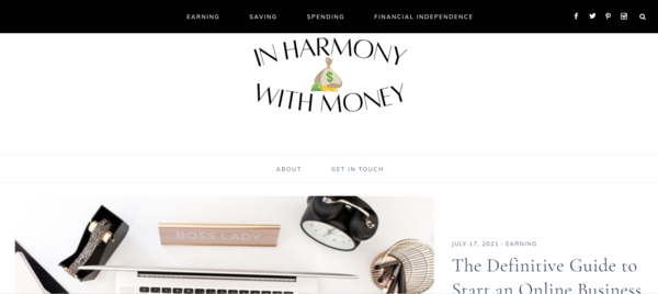 inharmonywithmoney.com - Starter Site for sale in the Personal Finance industry