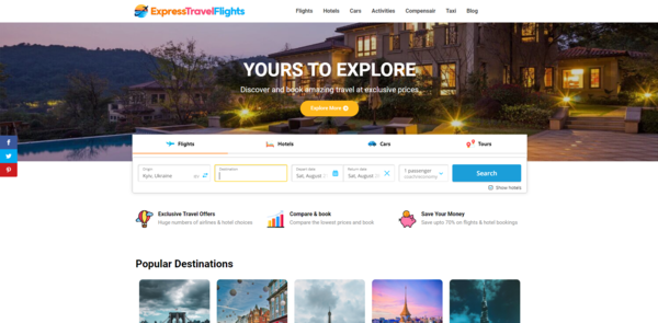 ExpressTravelFlights.com - Automated Travel Site For Passive Income, Earn Up To $10k/mo on Flights, Hotels