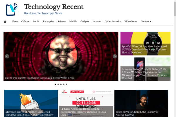TechnologyRecent.com - Fully Automated Tech News Website - 1 Year Free Hosting BIN + Great Bonuses
