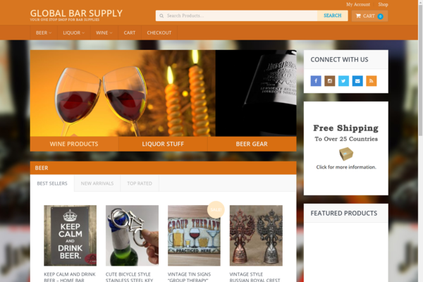 GlobalBarSupply.com - Hot New Niche! - Bar Supply Dropship eCommerce Site - BIN Bonuses!