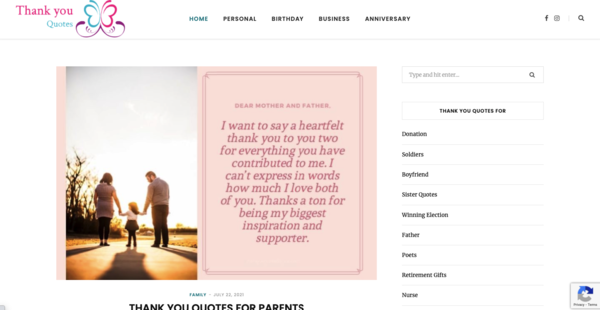 Thank you Quotes - 1 year 10 Month Old Quotes Niche website making $200+ Per month. No Regular work Required, 89 Articles add already.