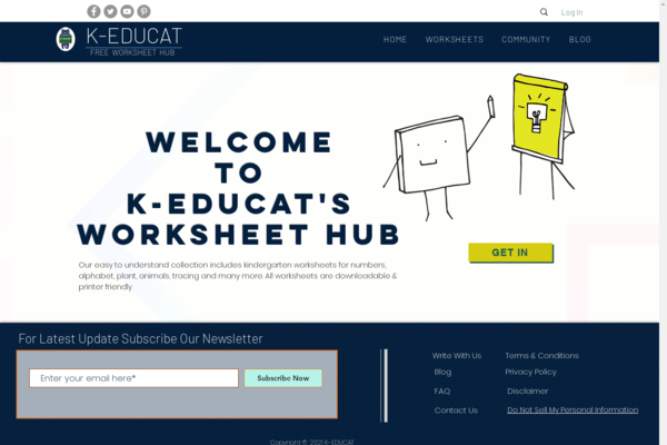 k-educat.com - 500+ Worksheets For Kids Integrated with FB, Twitter, Pinterest & Other SM.