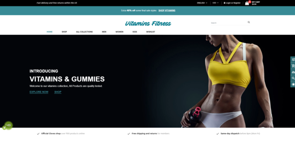 VitaminsFitness.com - Dropshipping Store - Trustworthy Suppliers Connected - Turnkey Vitamins & Supplement Dropshipping Website with Trustworthy Suppliers Integrated. High Earning Potential.