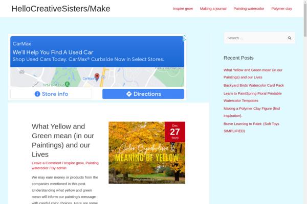 hellocreativesisters.com - Creativity blog, organic traffic from the USA. Adsense 20 dollars a month.