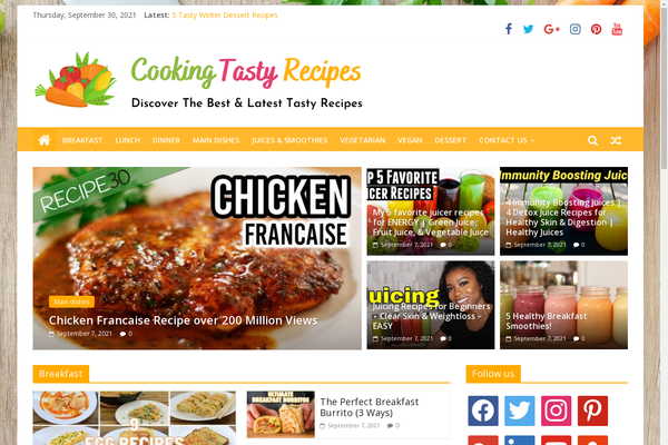CookingTastyRecipes.com - Cooking & Recipes Site - Killer Design - 100% Automated - 1 Extra site Or 1 Year free hosting for BIN + Bonuses - Amazon & Clickbank Income.