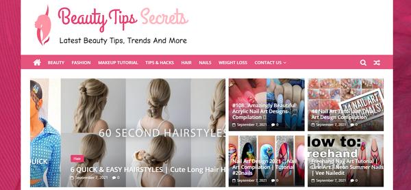 BeautyTipsSecrets.com - Premium Design Beauty Tips & Tutorial Site, 100% Automated, Amazon,CB Ad Income.