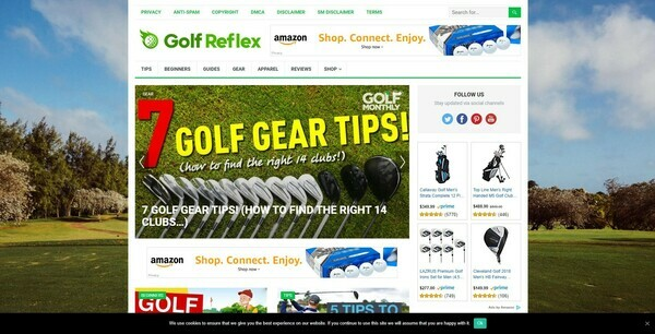 GolfReflex.com - 100% Autopilot & Automated Golf Blog Site To Make Money Online From Amazon Ads, Affiliate Links on Blog Posts - 500 Amazon Products Preloaded