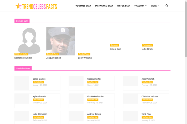 trendcelebsfacts.com - AdSense Approved website with 205k celebrity personal information