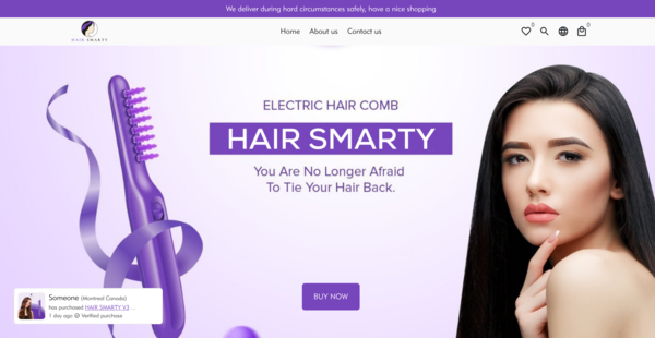 HairSmarty.com - One product amazing Shopify Store for Sale