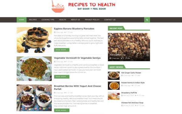 recipestohealth.com - starter site for sale in Recipe niche.