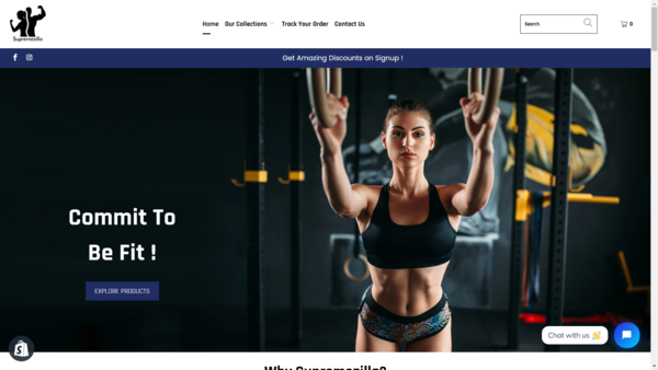 Supremezilla - Stunning Fitness related Shopify Store with awesome Storename on Sale. 30+ Top-Rated Products imported & connected Facebook page with 120+ followers included.
