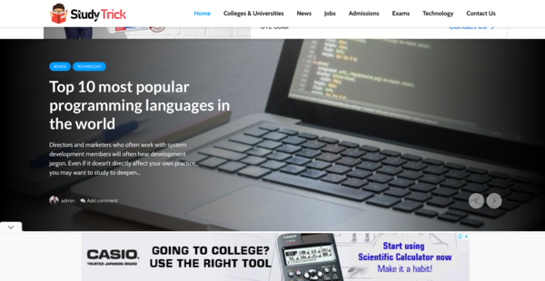 StudyTrick.com - High quality content Education blog with Adsense earnings