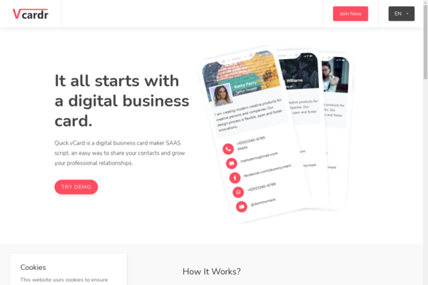 vcardr.com - vcardr Start Saas business with this Contactless digital business card builder