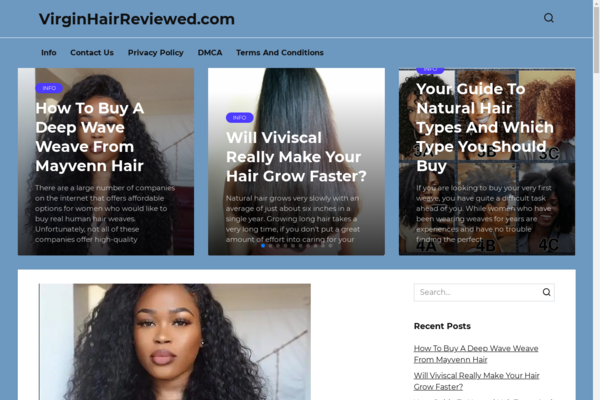 virginhairreviewed.com - A blog about hairstyles, on WordPress, added to Adsense. US organic traffic.