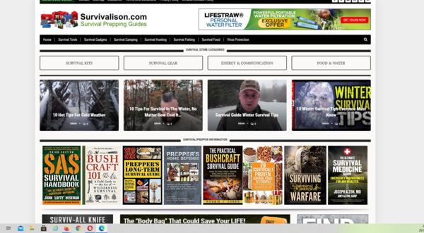 survivalison.com - Survivalison.com 100% automated survival guides affiliate product website