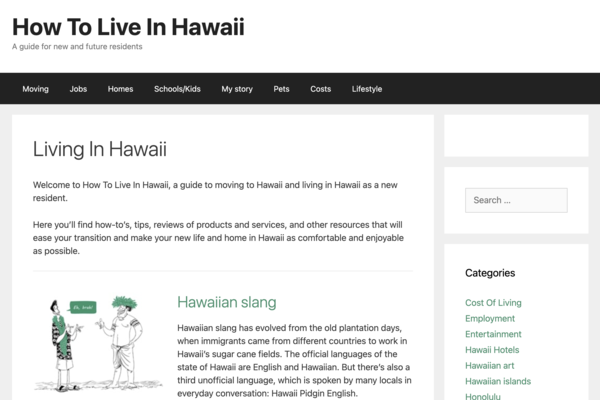 HowToLiveInHawaii.com - 11 y/o passive content site in the travel & lifestyle niche making $134/mo over last 6 months. Many easy wins, under-optimized. Started in 2010. NO RESERVE!