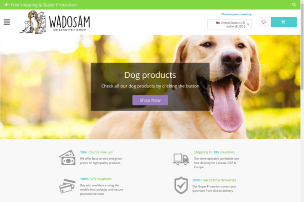 wadosam.com - Worldwide online pets store - Google indexed ready to use !