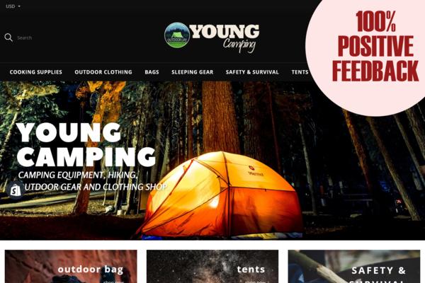 YoungCamping.com - CAMPING & HIKING Dropship STORE. Domain Value $1,212 . USA & INTL Market