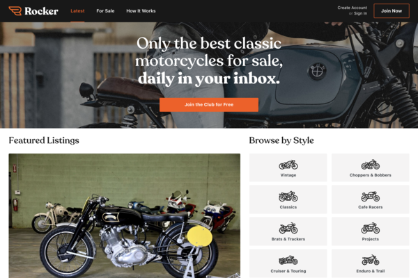 rocker.co - Classic Motorcycle Curated Marketplace w/ 850+ users and 18,500 Insta followers