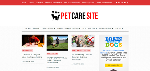 PetCareSite.com - Newbie Friendly |Pet Niche Blog Site Ready To Start Earning| Just Send Traffic!!