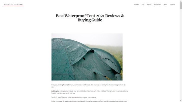 bestwaterprooftent.com - Bestwaterprooftent.com is a new and growing site rev $50/month from Amazon