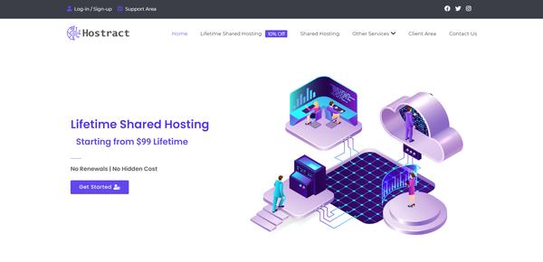 hostract.com - Very Unique Lifetime Web Hosting Service provider website on Flippa