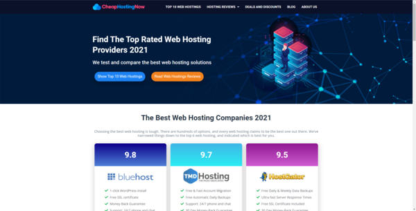 CheapHostingNow.com - Hosting Affiliate Site To Make Money Online From Affiliate Commissions on Web Hostings, Cloud Hostings, UP TO $200/lead