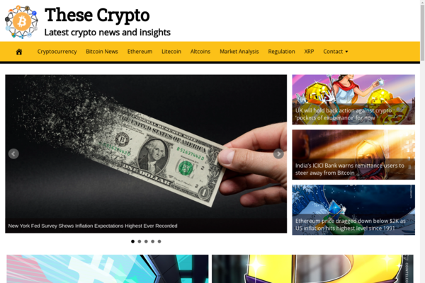TheseCrypto.com - Fully Automated Crypto News Website. Get 5 Automated Websites worth over $900