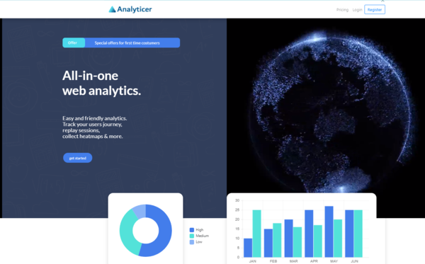 analyticer.com SaaS Web Analytics Platform - analyticer.com is a powerful analytical tool, which provides the ability to track user trends on ANY Website! Record on-page sessions, heatmaps, statistics and