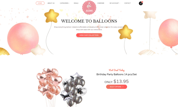 Balloons4.com - Balloons Dropshipping eCommerce business for Sale