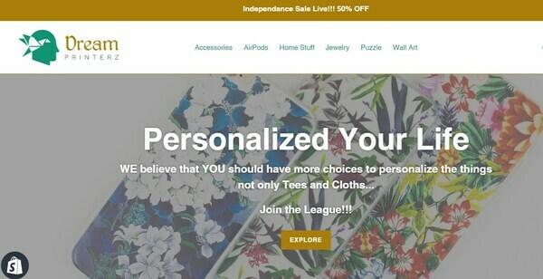 DreamPrinterz.com - Shopify Print On Demand Store, Exclusive Products, $3780 Potential Profit/month