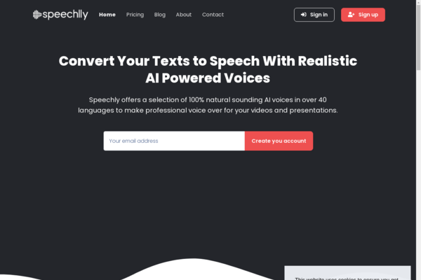 Speechlly.com - AI Powered Text-to-Speech SAAS Platform | $1k+/month Earning Potential