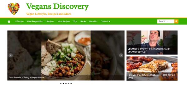 VegansDiscovery.com - Popular Vegan Niche - High CTR Design - BIN Bonus - Fully Automated