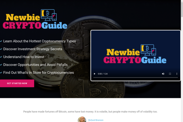 NewbieCryptoGuide.com - Cryptocurrency Course Store, Digital Product, Wordpress/WooCommerce, Includes 6 Separate eBook Guides, Custom Promo Video & Sales Graphics. Red Hot Niche