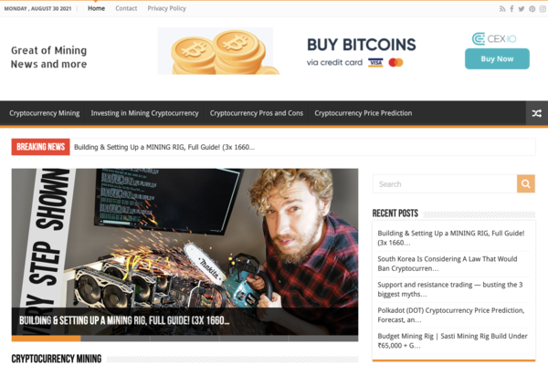 greatofmining.com - Greatofmining.com is an affiliate website with 20K profit in the last 2 years.