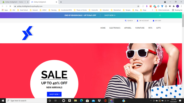 New Shopify Store - New Shopify store preloaded with products from popular categories including electronics, furniture, apparel, pets, and gifts. Great for beginners!