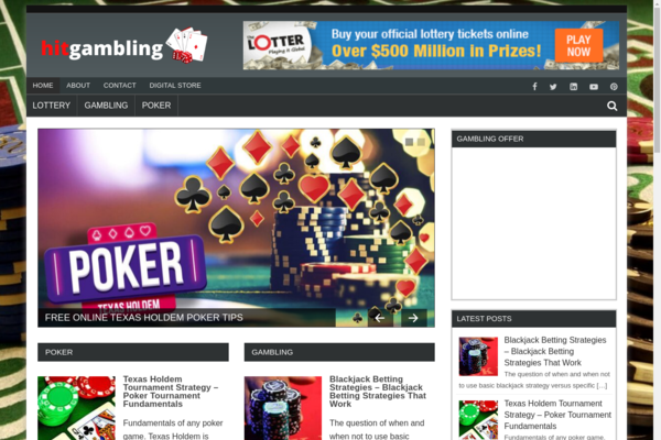hitgambling.com - Gambling, Poker, Betting, Casino & Lottery Blog with Unique Content 15,000 + Words. Get Organic Traffic