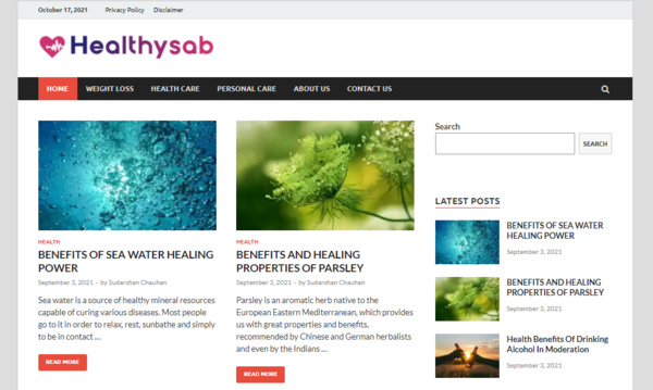 Healthysab.com - Healthysab.com is Google AdSense Approved Website with 40+ Post published on Health  &  Fitness  niche.