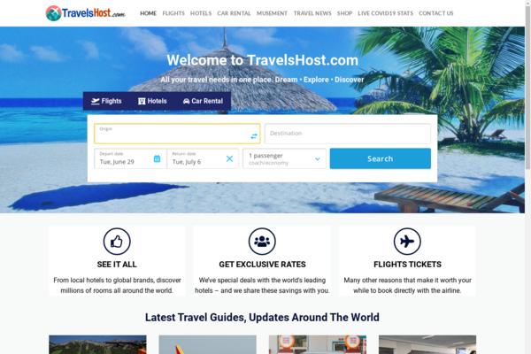 TravelsHost.com - PREMIUM Wordpress Travel Search & Booking Business- Flights, Hotels,Store & More