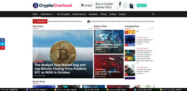 CryptoOverload.com - 100% Autopilot Crypto Bitcoin News Magazine Blog To Make Money Online on Crypto Ads - Premium Domain Name Valued $1300 - Newbie Friendly WordPress Site