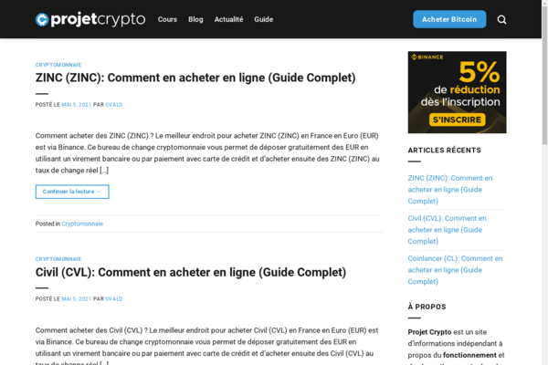 projet-crypto.com - 7 Months Old Crypto Affiliate Site   100% Autopilot