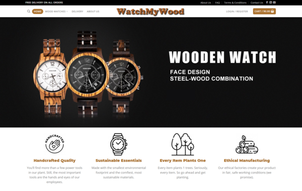 WatchMyWood.com - Premium Wood Watches Dropshipping Store, Earn Up To $5k/Month- $1200Domain
